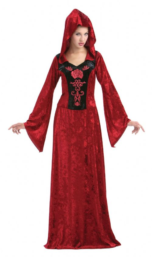 Ladies Gothic Maiden Costume Emo Goth Vampire Halloween Fancy Dress Outfit